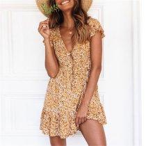 Summer Floral Printed V Collar Button Embellished Vacation Dress