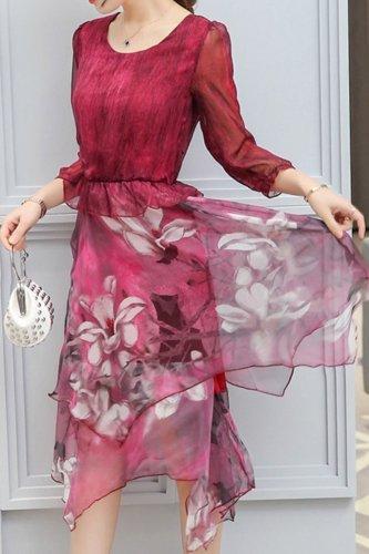 Round Neck  Asymmetric Hem  Floral Printed Skater Dress