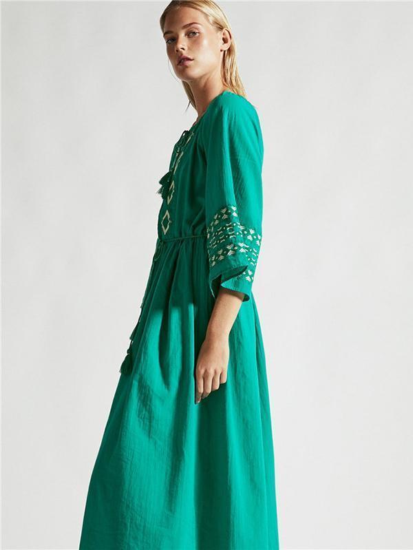Waist--Strap Inwrought Beach Midi Dresses