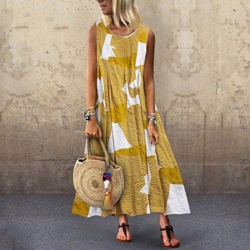 Geometry Stripe Digital Print Multi-Color Sleeveless Casual Maxi Dress