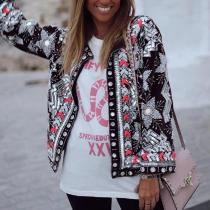 Women's Fashion Printed Color Single-breasted Long Sleeve Coat