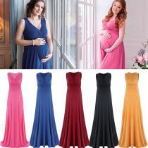 Pregnant V-Neck Sleeveless Women Casual Sexy Evening Dress