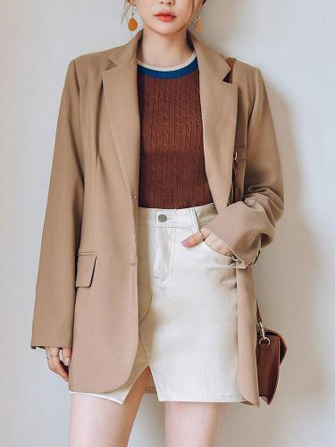Fashion Pure Colour Loose Long Sleeve Little Suit