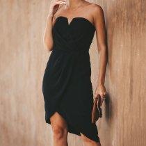 Fashion Tube Top Sleeveless Slim   Zipper Sweet Dress