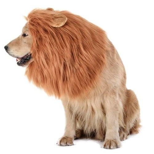 Large Pet Dog Lion Mane Wig Hair Christmas Dog Wig Hair Costume Fancy Dress Halloween Gift Cosplay Funny Hat Cap Pet Cute Dress