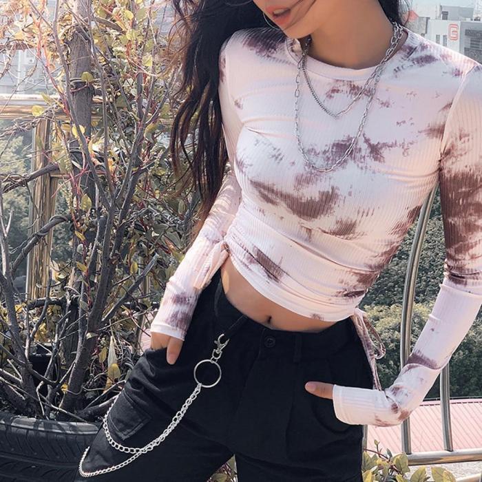 Women Crop Tops Long Sleeve T-Shirt