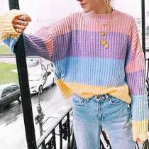 Contrast Color Fashion Loose Colorful Knit Sweater
