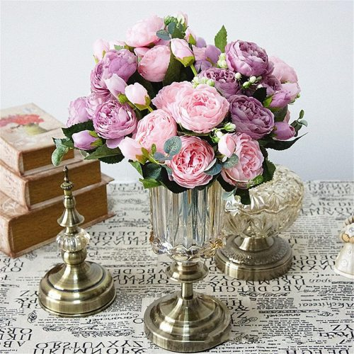30cm Rose Pink Silk Peony Artificial Flowers Bouquet 5 Big Head 4 Bud Fake Flowers for Home Wedding Decoration Marriage Faux