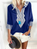 Fashion Ethnic Style V-Neck Casual T-Shirt Blouse