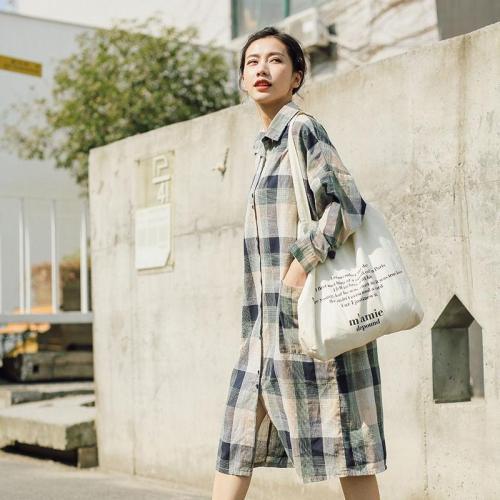 Casual Plaid Linen Shirt Dress