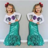 Kid Girls Clothes Mermaid Outfit Costume Shirt Dress 3-8 years old