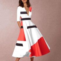 V-Neck  Abstract Print Geometric Printed Skater Dresses