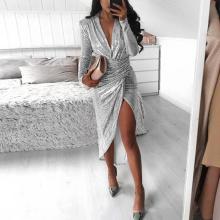 Sexy Bag Hip Split Pleated Sequin Dress