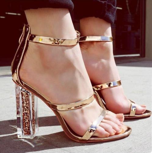 Open Toe Transparent Chunky Heels Sandals