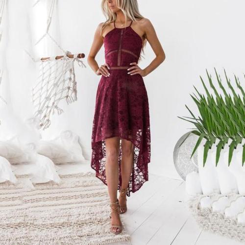 Sexy Halter Neck Lace Sleeveless Maxi Dresses