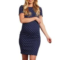 Summer New Fashion Pregnant Woman Wave Short Sleeve  Multi-function Dress Fashion  Daily Dress