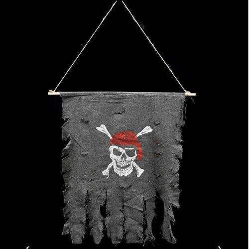 Jolly Roger Tattered Cotton Creepy Pirate Flag Decoration Pirate Party Skull and Crossbones Cosplay Party Decoration Halloween