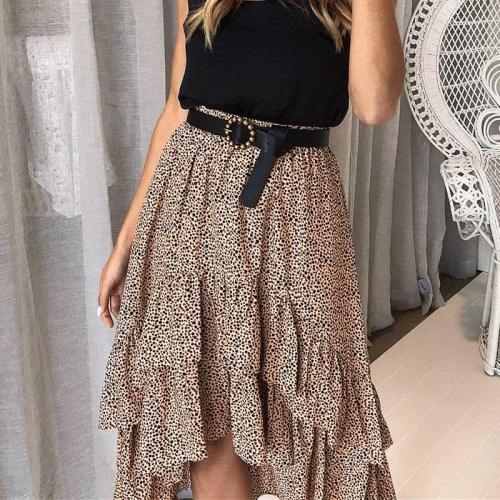 2020 Spring Women Boho Chiffon Holiday Skirts Summer High Waist Female Polka Dot A-Line Ruffles Midi Beach Flare Skirt For Women