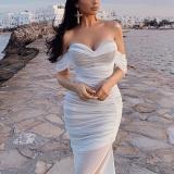 Off Shoulder Wrinkle Side Slit Bodycon Dress