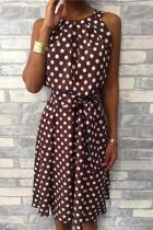 Sleeveless Wave Point Casual Dresses