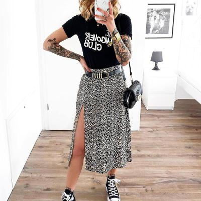 Fashion Skirt Women 2020 Cross-Border Women's Leopard Print Skirts Women High Waist Elastic Split midi A- line Skirt Streetwear