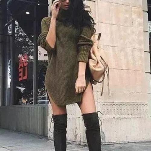 Fashion Plain Long Sleeve Sweater