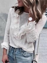 Fashion Wave Lotus Leaf Lace Collar Shirt