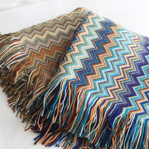 Blanket Bohemian Indian Knitted Colorful Thread Blanket Spring and Summer Air Conditioning Knitted Quilt Small Cover Blanket