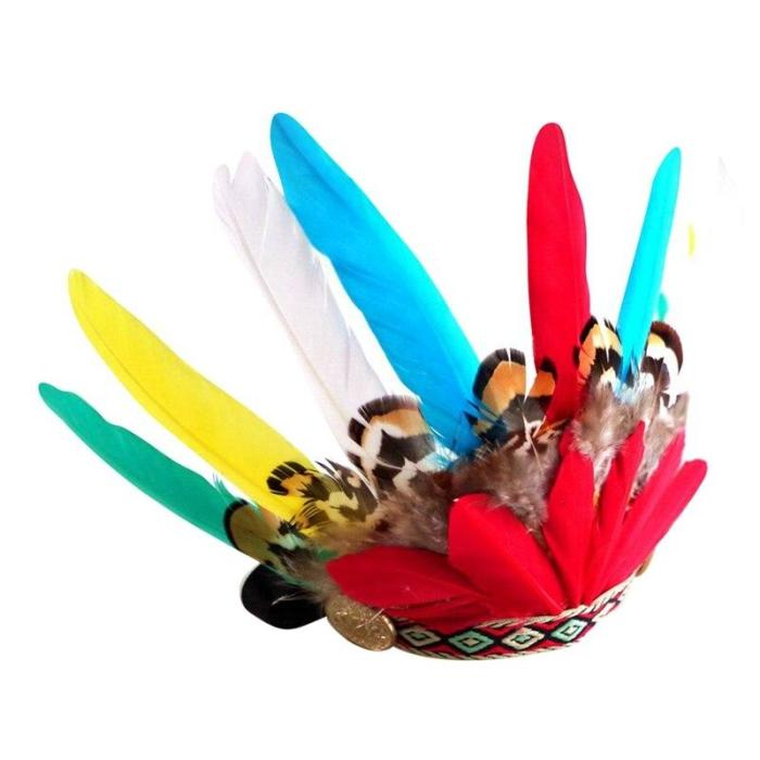 Ethnic Cat Costumes  Pet Indians Style Feather Headgear Hat Costume Festival Cosplay For Cats