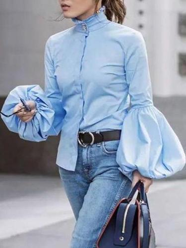 Elegant Fashion Slim High Collar Long Sleeve Puff Cuff Button Blouse