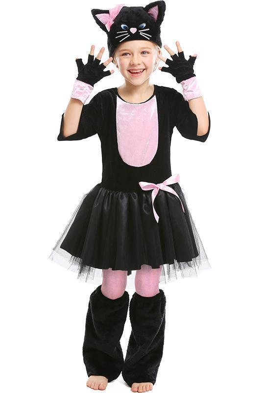 Little Girls Halloween Costume Catwoman Outfit For Kids