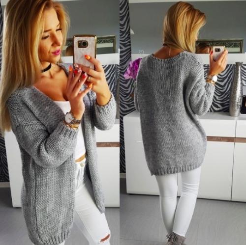 Stripe Candy Color Oversized Long Women Cardigan