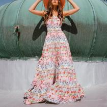 Fashion Vacation Printed Splicing Tube Top Maxi Dress