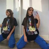 EBUYTIDE Oversize Women Summer T-Shirt Y2k Gothic Cotton Casual Black Hip-hop Female Tops Kawaii Cartoon Print Clothes
