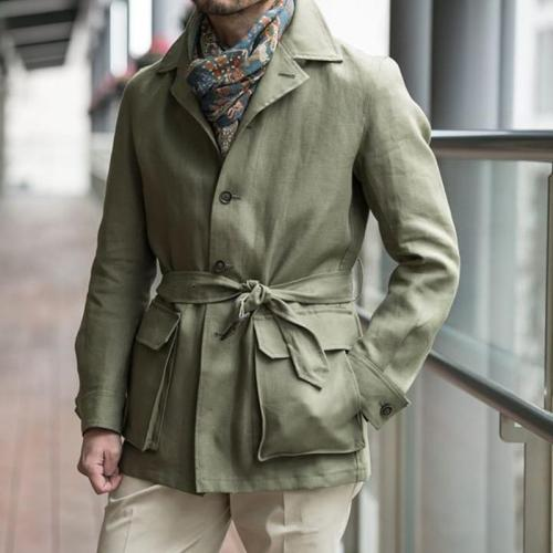 Men's Simple Lapel Pocket Lace-Up Jacket