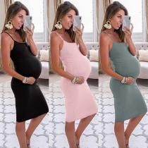 EBUYTIDE Summer Maternity Dress Solid Color Bodycon Dress Pregnancy Sundresses 2020 Sleeveless Casual Pregnant Clothes