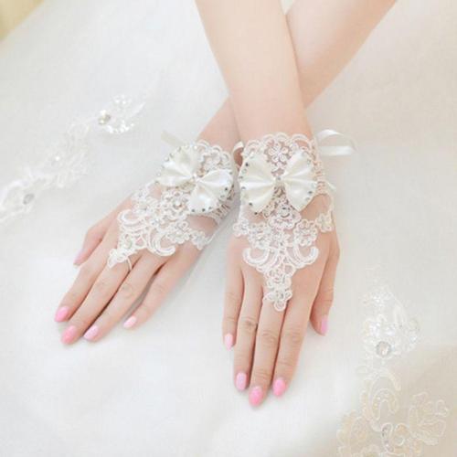 Vintage Palace Embroidery Lace Short Gloves Satin Bowknot Rhinestone Beaded Adjustable Ribbon Wedding Bridal Mittens