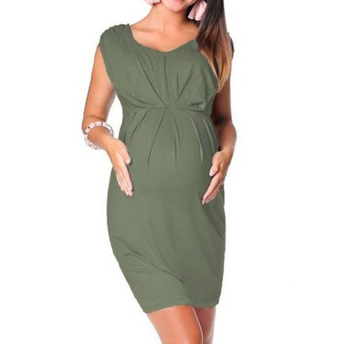 Summer New Fashion Maternity Clothes Pregnant Women Sleeveless Bodycon Dress Sexy Solid Dress