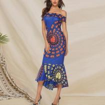 Sexy Off Shoulder Print Irregular Dress
