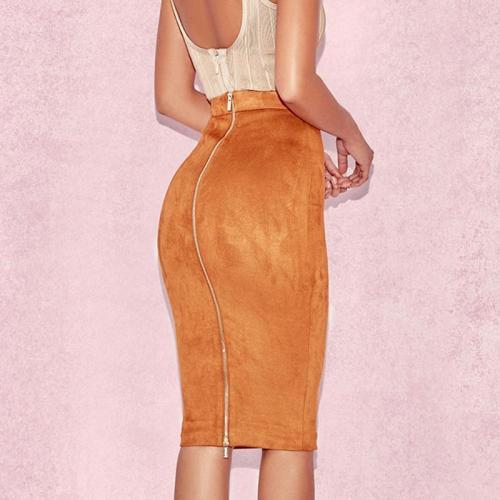 Autumn Winter Deerskin High Waist Sexy Bag Hip Skirt