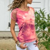Short Sleeved Tie-dye Printed T-shirt with Stained Holes
