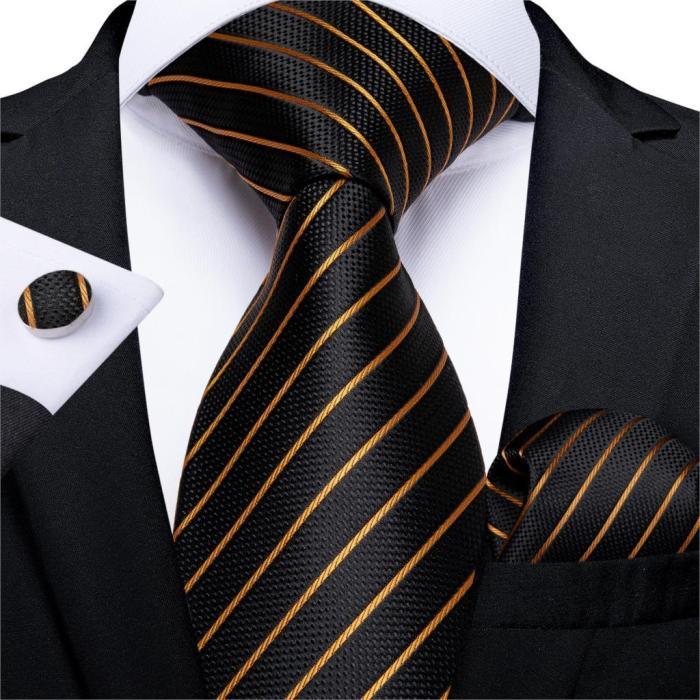 Gift Men Tie Luxury Gold Black Striped Paisley Silk Wedding Tie For Men EBUYTIDE Designer Hanky Cufflinks Fashion Tie Set