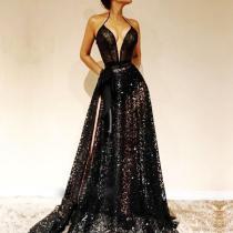 Fashion Sexy Deep V Sleeveless   Halter Dress
