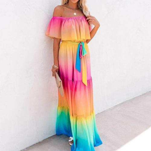 Off Shoulder Ruffled Sleeve Women's Maxi Dress Rainbow Changing Color Lace Up Female Dresses 2020 Summer Sexy Beach Loose Dress