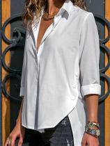 Plain Irregular Long Sleeve Chiffon Blouse T-shirt