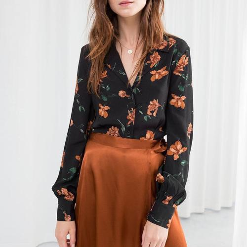 Sexy V-Neck Romantic Print Vintage Lapel Pleated Cuff Single-Breasted Shirt