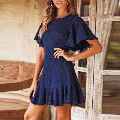 Short Sleeves Plain Ruffled Chiffon Casual Mini Dress