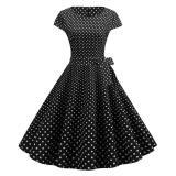 Pink Dot Summer Dress 2020 New Fashion Short Sleeve O-neck 50s 60s Retro Vintage Pinup Rockabilly Knee-Length Dress Casual Swing