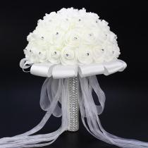 Women Artificial Wedding Bouquets Handmade Rose Flower Rhinestone Bridesmaid Holder Flowers Wedding accessories