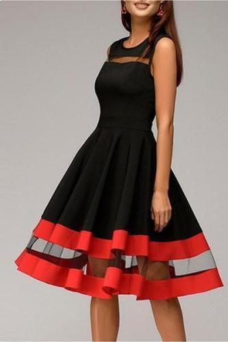 EBUYTIDE Round Neck Patchwork Color Block Sleeveless Skater Dress